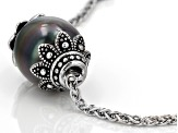 Cultured Tahitian Pearl Rhodium Over Sterling Silver Necklace 11-12mm