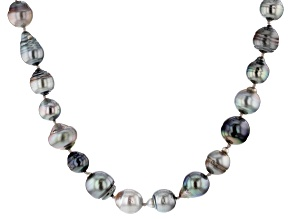 Cultured Tahitian Pearl Rhodium Over Sterling Silver Necklace 8-14mm
