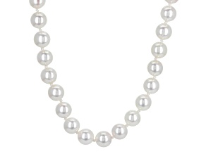 Cultured Japanese Akoya Pearl Rhodium Over Sterling Silver Necklace 8-8.5mm