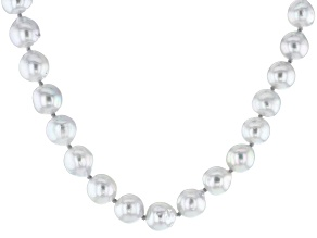 Cultured Japanese Akoya Pearl Rhodium Over Sterling Silver Necklace 8-9mm