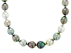 Cultured Tahitian Pearl Rhodium Over Sterling Silver Strand Necklace 9-11mm