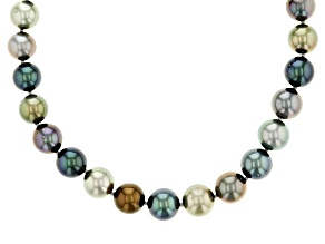 Cultured Tahitian Pearl Rhodium Over Sterling Silver Strand Necklace 8-10mm