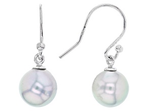 Cultured Japanese Akoya Pearl Rhodium Over Sterling Silver Dangle Earrings 8-9mm