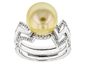 Golden Cultured South Sea Pearl And White Topaz Sterling Silver Ring 10-11mm