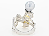 Golden Cultured South Sea And Tahitian Pearl Rhodium Over Sterling Silver Ring 8-9mm