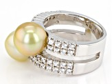 Golden Cultured South Sea Pearl And White Zircon Sterling Silver Ring 8-9mm