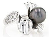 Cultured Tahitian Pearl With Topaz Rhodium Over Sterling Silver Ring 9-10