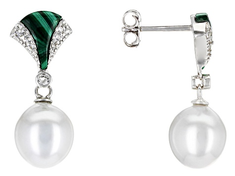 Cultured Tahitian Pearl, Malachite And White Topaz Sterling Silver Earrings 9-10mm