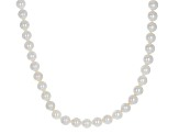 Cultured Japanese Akoya Pearl Rhodium Over Sterling Silver Necklace 6-7mm