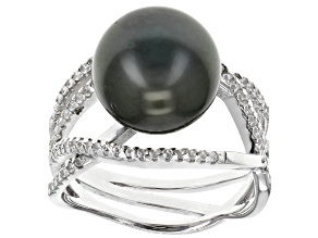 Cultured Tahitian Pearl With Topaz Rhodium Over Sterling Silver Ring 11