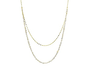 White Cultured Keshi Akoya Pearl 18k Yellow Gold Link Strand Necklace