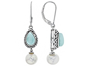 Cultured Freshwater Pearl And Larimar Rhodium Over Sterling Silver Earrings 8-8.5mm