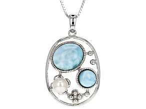 White Cultured Freshwater Pearl And Larimar Sterling Silver Pendant With Box Chain