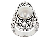 White Cultured Freshwater Pearl Rhodium Over Sterling Silver Ring 14x10mm.