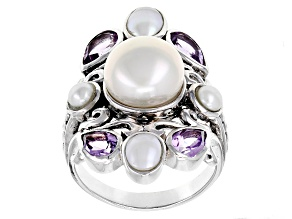 White Cultured Freshwater Pearl And Amethyst Rhodium Over Sterling Silver Ring