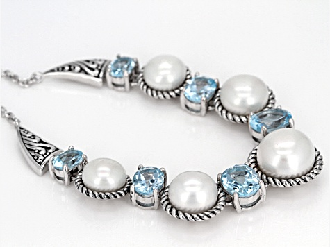 White Cultured Freshwater Pearl And Blue Topaz Sterling Silver Necklace 8.5-12mm