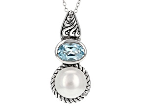 White Cultured Freshwater Pearl And Blue Topaz Sterling Silver Pendant With Chain