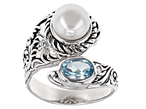 White Cultured Freshwater Pearl And Blue Topaz Sterling Silver Ring 7.5-8mm