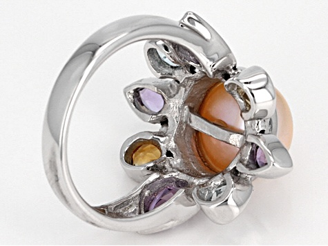 Peach Cultured Freshwater Pearl And Multigem Sterling Silver Ring