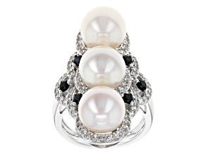 Cultured Freshwater Pearl And Multigem Rhodium Over Sterling Silver Ring
