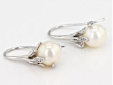 Cultured Freshwater Pearl And White Zircon Rhodium Over Sterling Silver Earrings
