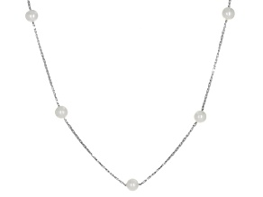 Cultured Freshwater Pearl Rhodium Over Sterling Silver Necklace