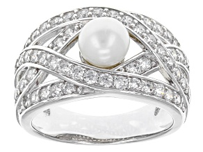 Cultured Freshwater Pearl And Cubic Zirconia Rhodium Over Sterling Silver Ring