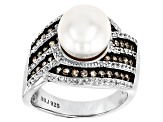 Cultured Freshwater Pearl, Diamond and Zircon Rhodium Over Silver Ring