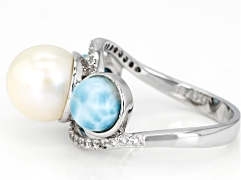 Cultured Freshwater Pearl, Larimar And White Zircon Sterling Silver Ring
