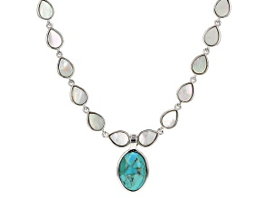 Turquoise And Mother Of Pearl Sterling Silver Necklace