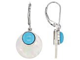 Mother Of Pearl And Turquoise Sterling Silver Earrings
