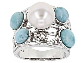 Cultured Freshwater Pearl And Larimar Sterling Silver Ring