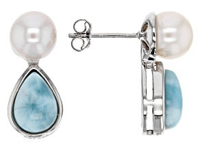 Cultured Freshwater Pearl And Larimar Sterling Silver Earrings