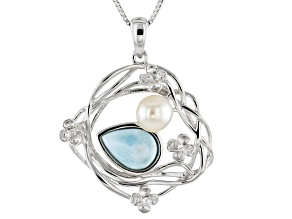 Cultured Freshwater Pearl. Larimar And White Zircon Sterling Silver Pendant With Chain