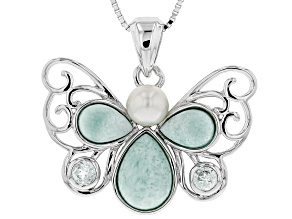 Cultured Freshwater Pearl. Larimar And Blue Topaz Sterling Silver Pendant With Chain