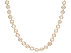 Candlelight Cultured Japanese Akoya Pearl 14k Yellow Gold Necklace 6-6.5mm