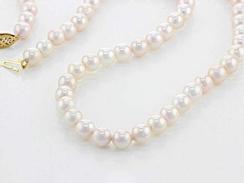 White Cultured Japanese Akoya Pearl 14k Yellow Gold Necklace 6-6.5mm