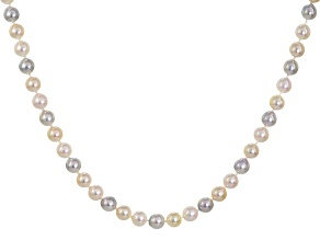 Multicolor Cultured Japanese Akoya Pearl 14k Yellow Gold Necklace 6-6.5mm