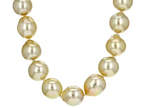 Golden Cultured South Sea Pearl 14k Yellow Gold Necklace 9-12mm