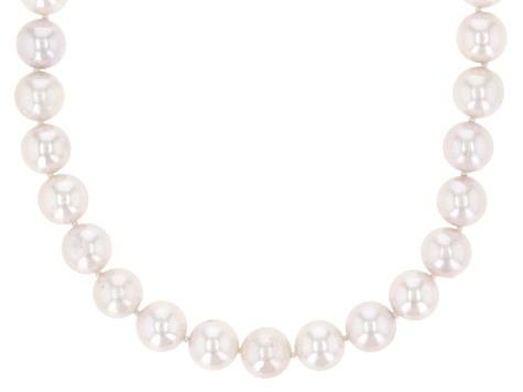 White Cultured Japanese Akoya Pearl 14k Yellow Gold Necklace 8-8.5