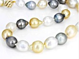 Cultured South Sea Pearl And Tahitian Pearl 14k Yellow Gold Necklace 9-12mm