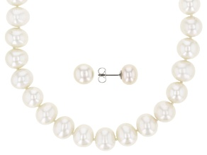 Cultured Freshwater Pearl Rhodium Over Sterling Silver Earrings And Necklace Set