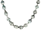 Cultured Tahitian Pearl Rhodium Over Sterling Silver Strand Necklace 7-10mm