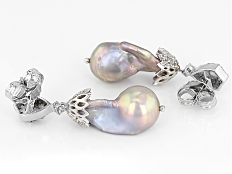 13-15mm Cultured Freshwater Pearl, Labradorite And White Topaz Rhodium Over Silver Earrings