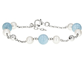 Cultured Freshwater Pearl And Aquamarine Rhodium Over Silver Bracelet 6-7mm