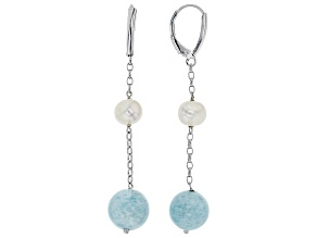 Cultured Freshwater Pearl And Aquamarine Rhodium Over Silver Earrings 6-7mm