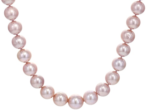 Natural Pink Color Cultured Kasumiga Pearl 14k White Gold Strand Necklace 10.5-13.5mm