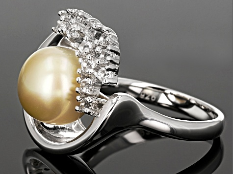 Cultured South Sea Pearl And White Zircon Rhodium Over Silver Ring 10mm