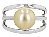 Cultured South Sea Pearl Rhodium Over Sterling Silver Ring 10mm