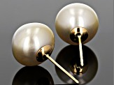 Cultured South Sea Pearl 14k Yellow Gold Stud Earrings 10-11mm